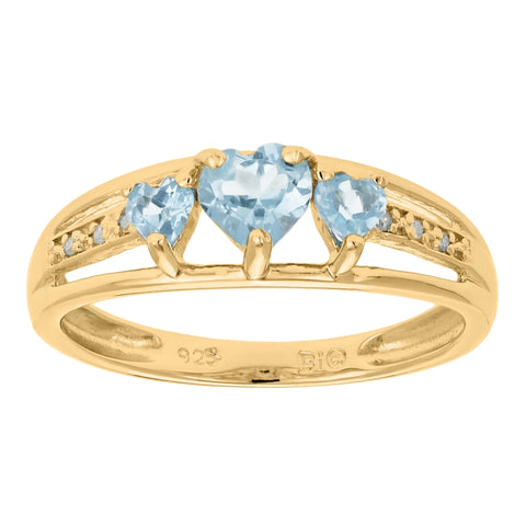 10K Gold Birthstone Triple Heart Ring with 02 CTTW Diamond Accent