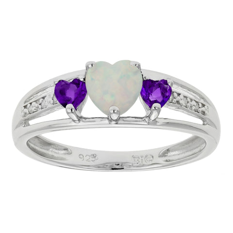 Image of Sterling Silver Birthstone Triple Heart Ring with 02 CTTW Diamond Accent