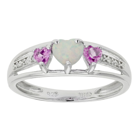 Triple Heart Shape Birthstone Ring with Diamond Accent in Silver