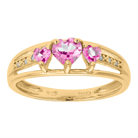 Image of Triple Heart Shape Birthstone Ring with Diamond Accent