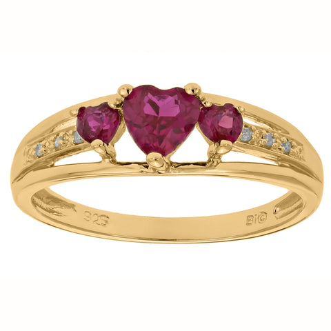 Sterling Silver Birthstone Triple Heart Ring with 02 CTTW Diamond Accent