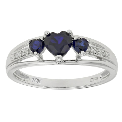 Image of 10K Gold Birthstone Triple Heart Ring with 02 CTTW Diamond Accent