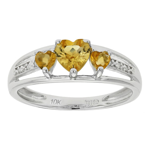 Triple Heart Shape Birthstone Ring with Diamond Accent