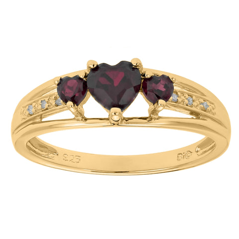 Image of Triple Heart Shape Birthstone Ring with Diamond Accent in Silver