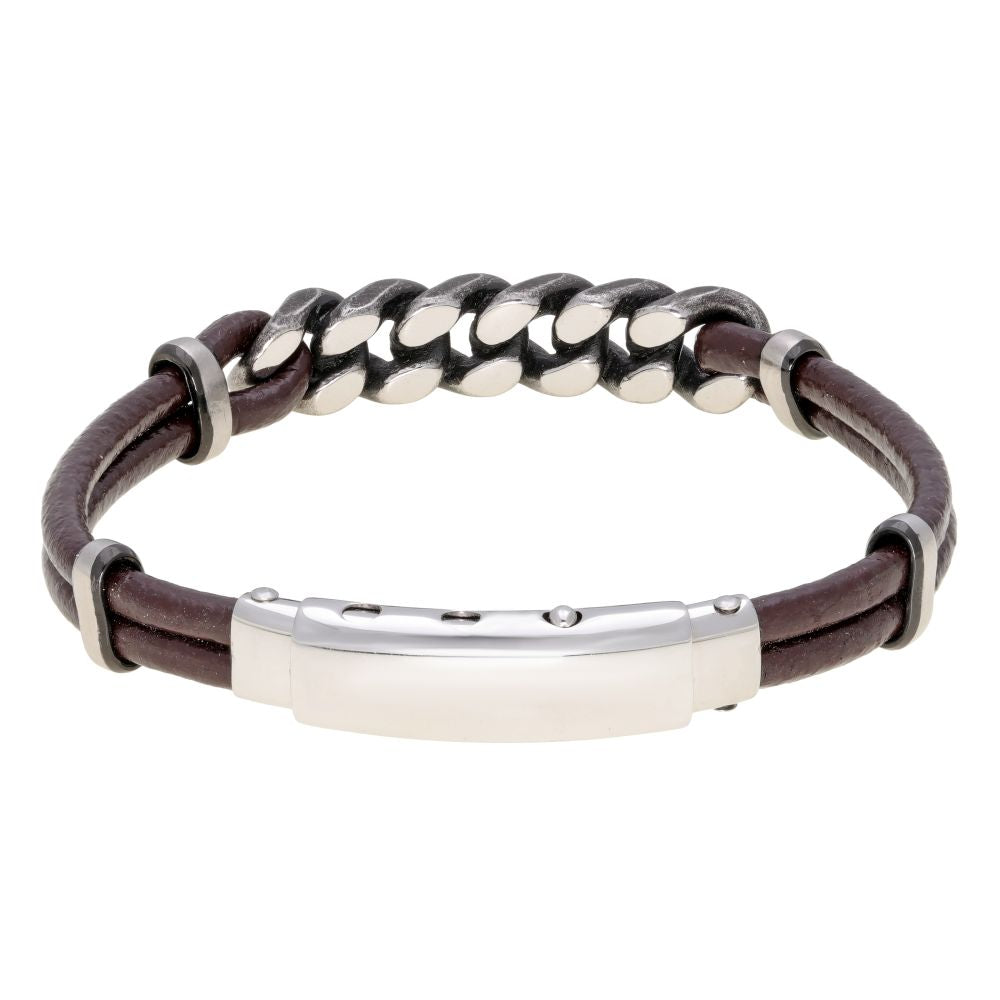 Stainless Steel and Brown Leather Adjustable Bracelet with Black Ion Plating