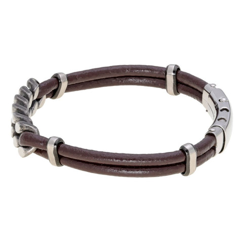 Image of Stainless Steel and Brown Leather Adjustable Bracelet with Black Ion Plating