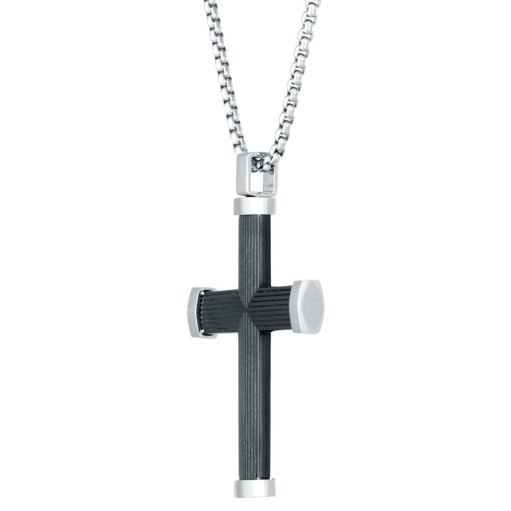 Stainless Steel Cross Pendant with Black Ion Plating on Box Chain