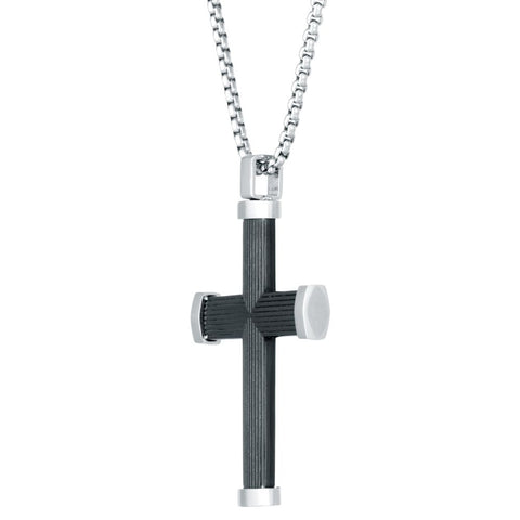 Image of Stainless Steel Cross Pendant with Black Ion Plating on Box Chain