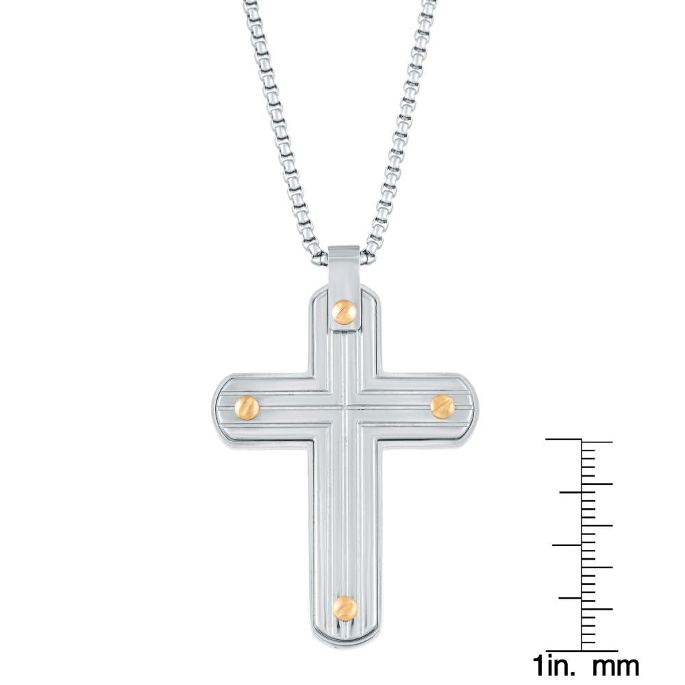 Stainless Steel Cross Pendant with Gold Ion Plating on Box Chain