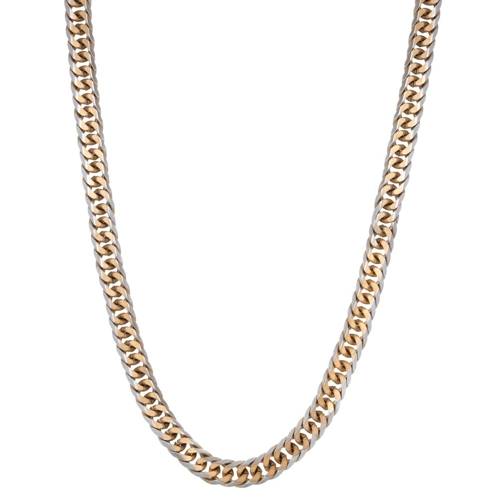Stainless Steel Square Wheat Chain Necklace with Gold Ion Plating