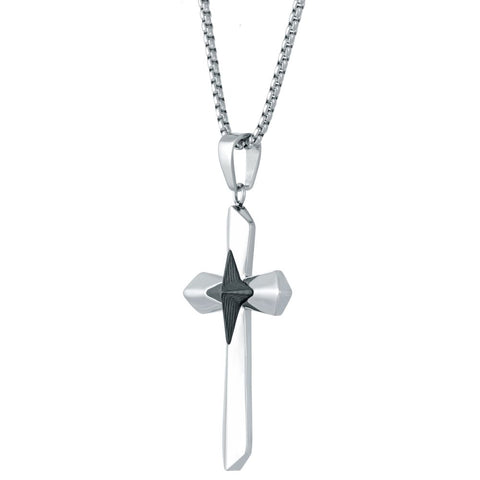 Image of Stainless Steel Carbon Fiber Cross Pendant with on Box Chain