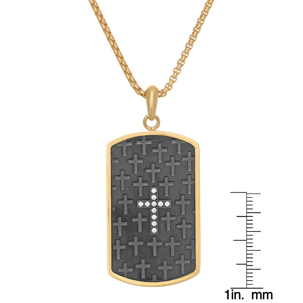 "Stainless Steel Dog Tag with Black and Gold Ion Plating on 24"" Round Box Chain"