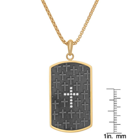 "Image of Stainless Steel Dog Tag with Black and Gold Ion Plating on 24"" Round Box Chain"