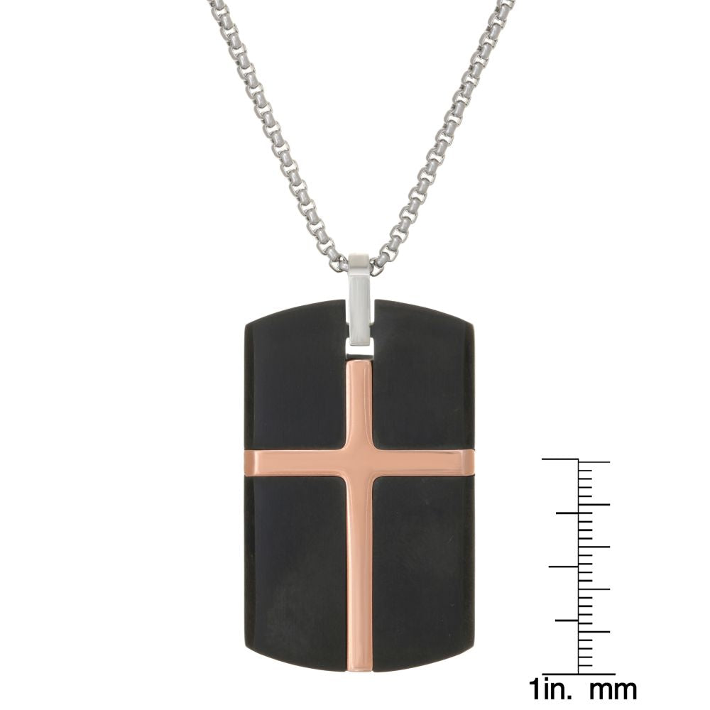 Stainless Steel Cross Dog Tag with Black & Rose Ion Plating on Box Chain