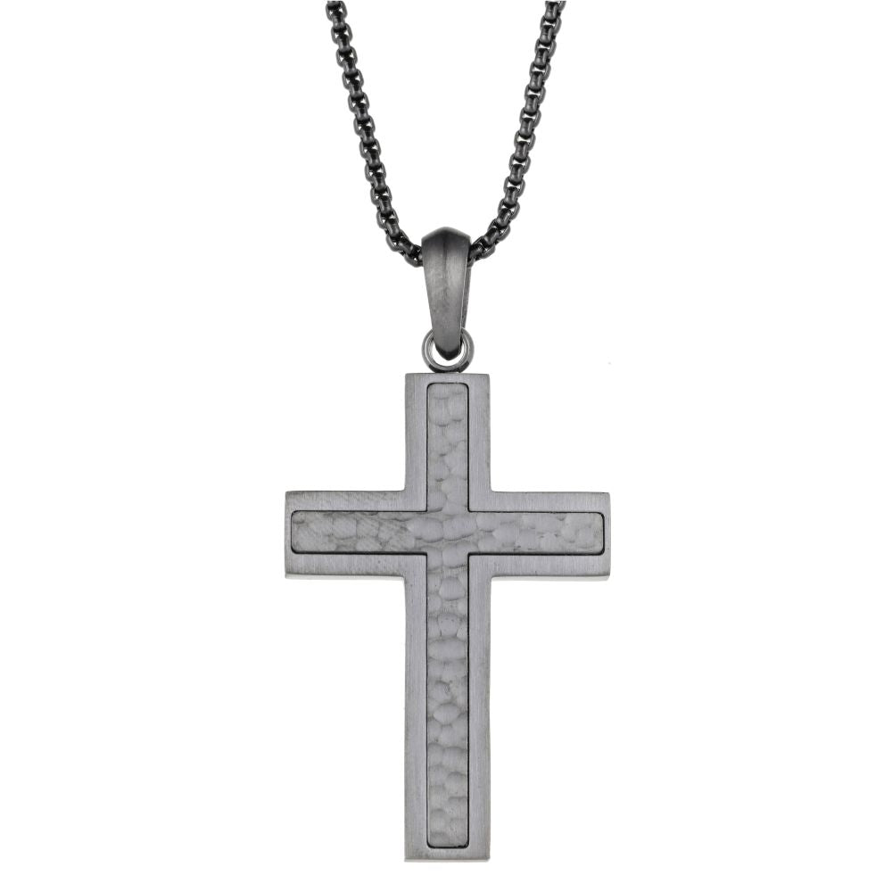 Gray Stainless Steel Hammered Cross Pendant on Round Box Chain