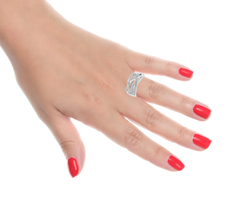 Image of Silver Ring with Diamond Accent