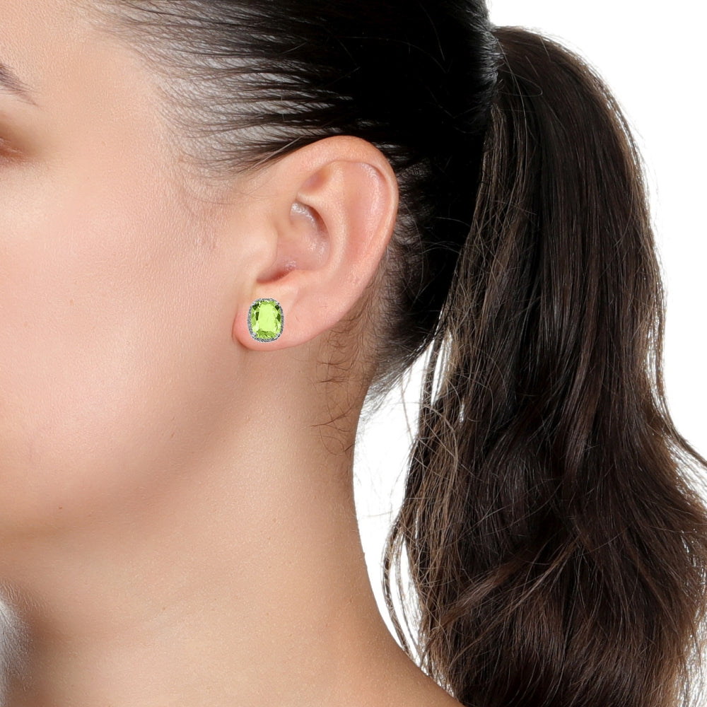 Peridot & Diamond Accent Cushion Earrings in Sterling Silver