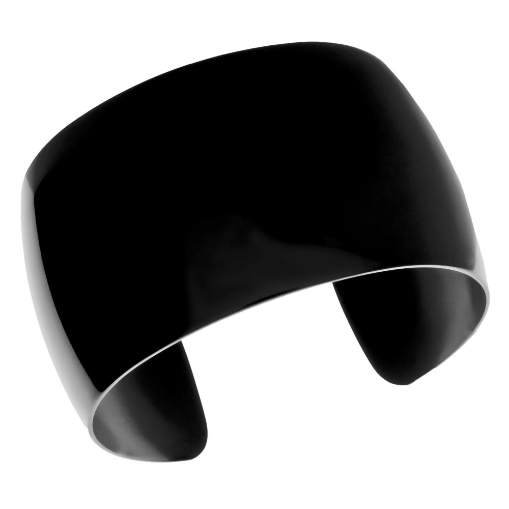 Stainless Steel Cuff Bangle with Black Plating