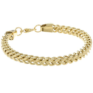 Stainless Steel Foxtail Chain Bracelet with Gold Plating