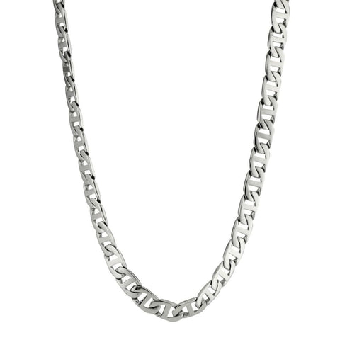 Stainless Steel Mariner Link Chain Necklace, 24""