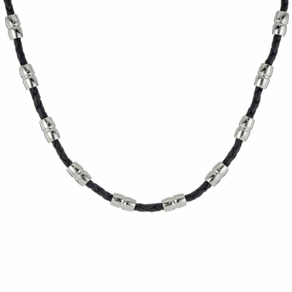 Stainless Steel Black Leather Necklace with Lobster Lock