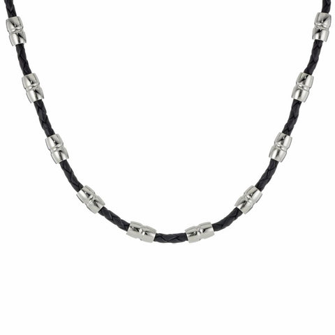 Image of Stainless Steel 22 in. Black Leather Necklace with Lobster Lock