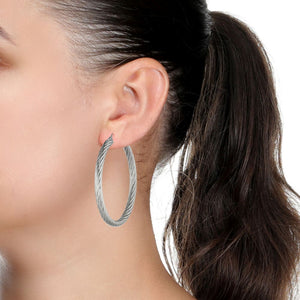 Stainless Steel Twisted Hoop Earrings, 50 mm