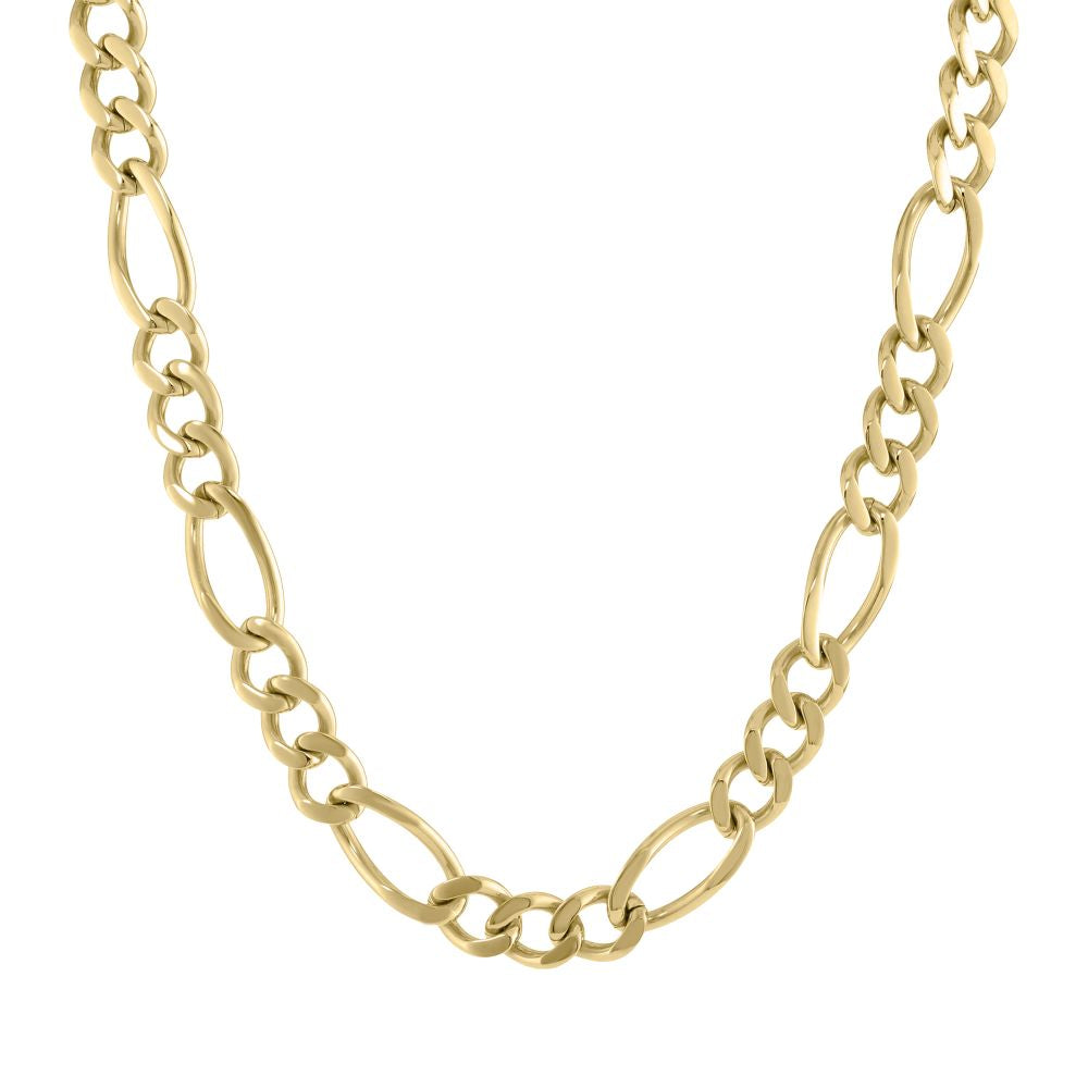 Stainless Steel Figaro Chain Necklace with Gold Plating