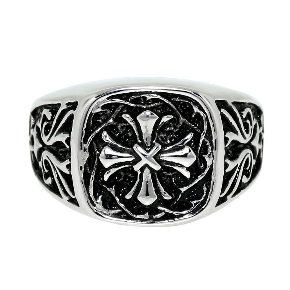 Stainless Steel Ring with Cross