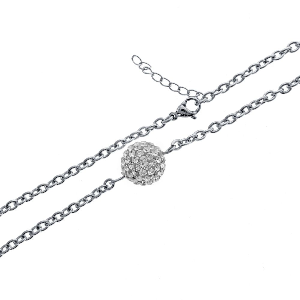 Stainless Steel Necklace with Swarovski White Crystal