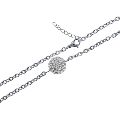Image of Stainless Steel Necklace with Swarovski White Crystal