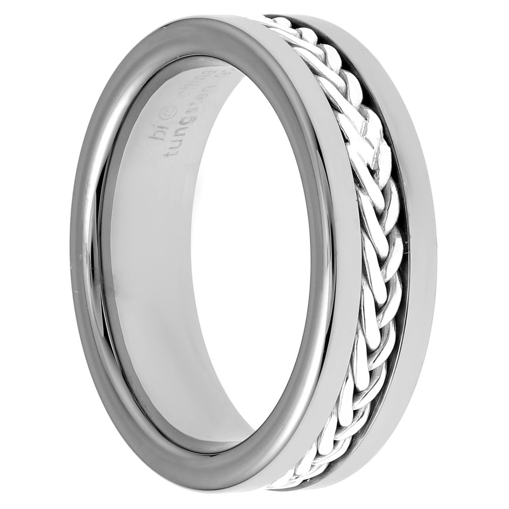 Stainless Steel & Silver Ring with Rope Design