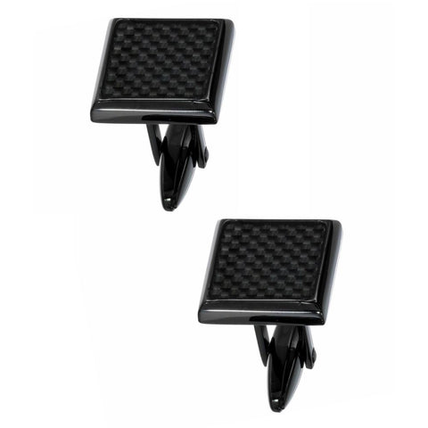 Image of Stainless Steel Cufflinks with Carbon and Black Plating