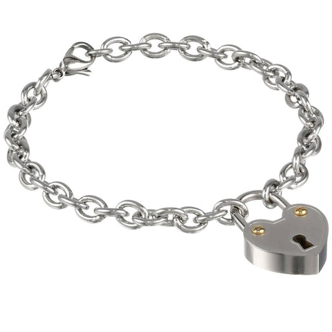 Image of Stainless Steel Bracelet with Key Lock Charm