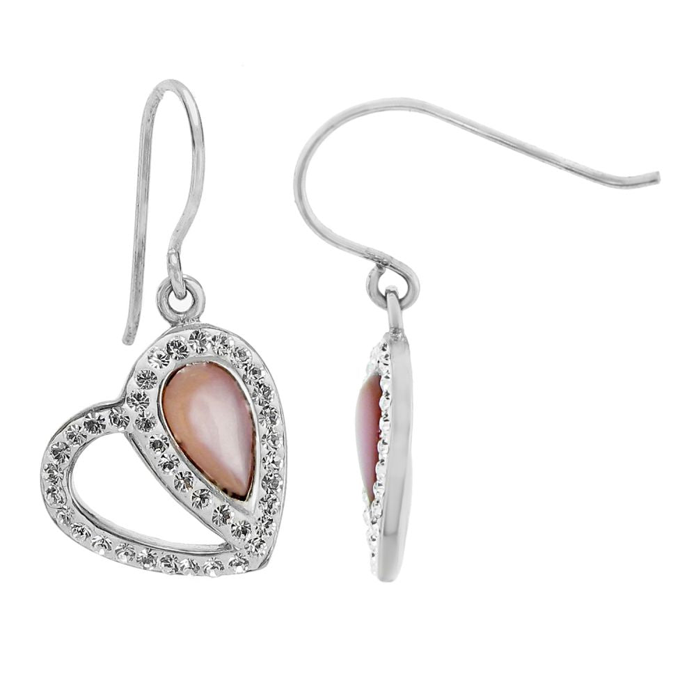 Stainless Steel Heart Earrings with Swarovski Crystal and Fish Hook