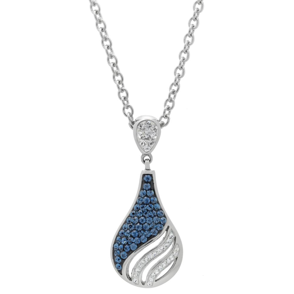 Stainless Steel Drop Pendant with Swarovski Crystal