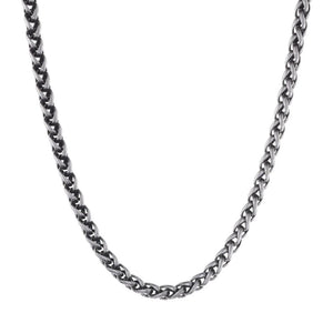 Stainless Steel Wheat Necklace with Black Plating