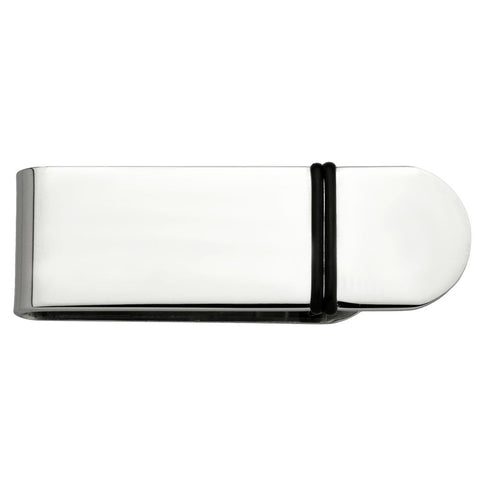 Mens Stainless Steel 16X2 Money Clip with Rubber Plating