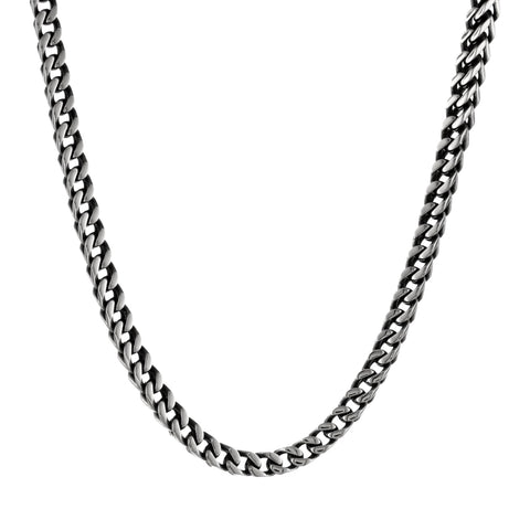 Stainless Steel Foxtail Chain Necklace with Black Plating