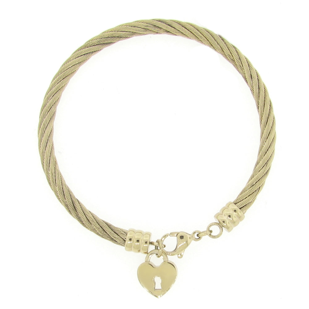 Stainless Steel Bangle with Hammered Lock Charm in Gold Plating