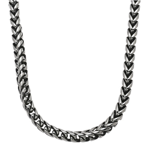 Stainless Steel Foxtail Necklace with Black Plating