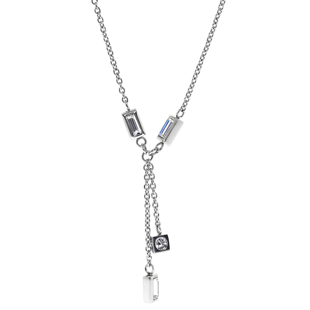 Stainless Steel Necklace with Crystal
