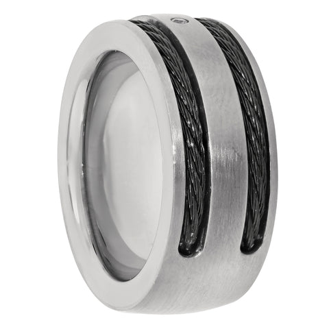 Image of Titanium Ring with Carbon Cable & Cubic Zirconium Accent
