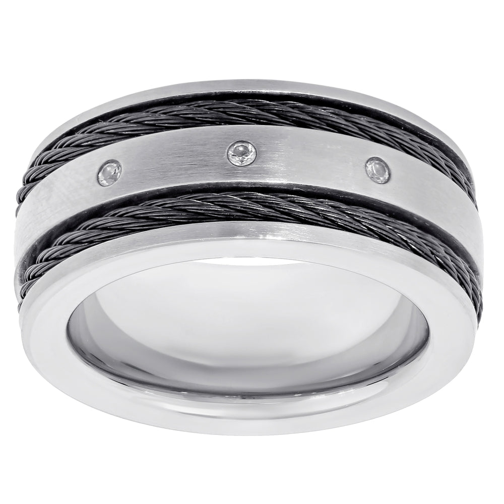 Titanium Ring with Carbon Cable & Cubic Zirconium Accent