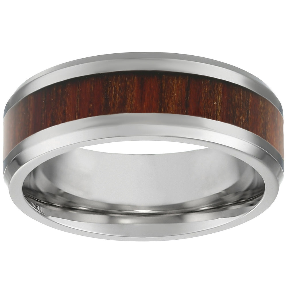 Stainless Steel Ring with Light Wood
