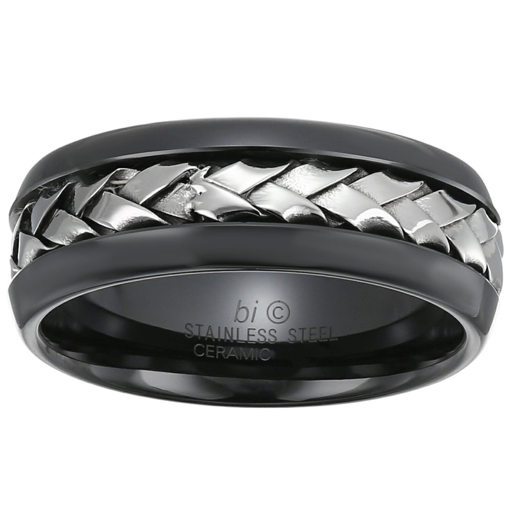 Stainless Steel and Ceramic Ring with Woven Center
