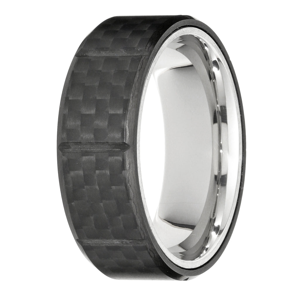 Stainless Steel Ring with Forged Carbon Fiber