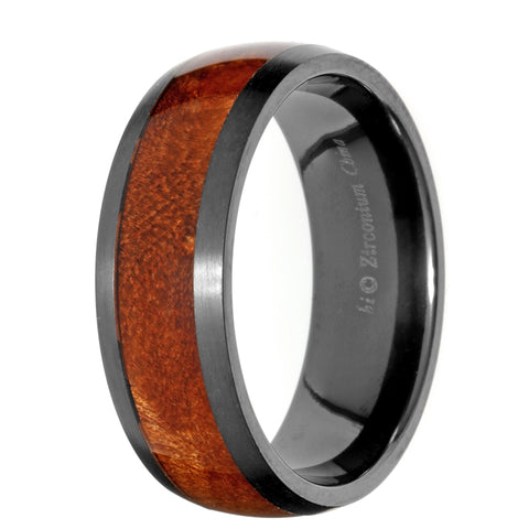 Stainless Steel Black Zirconia and Wood Pattern Inlay Ring