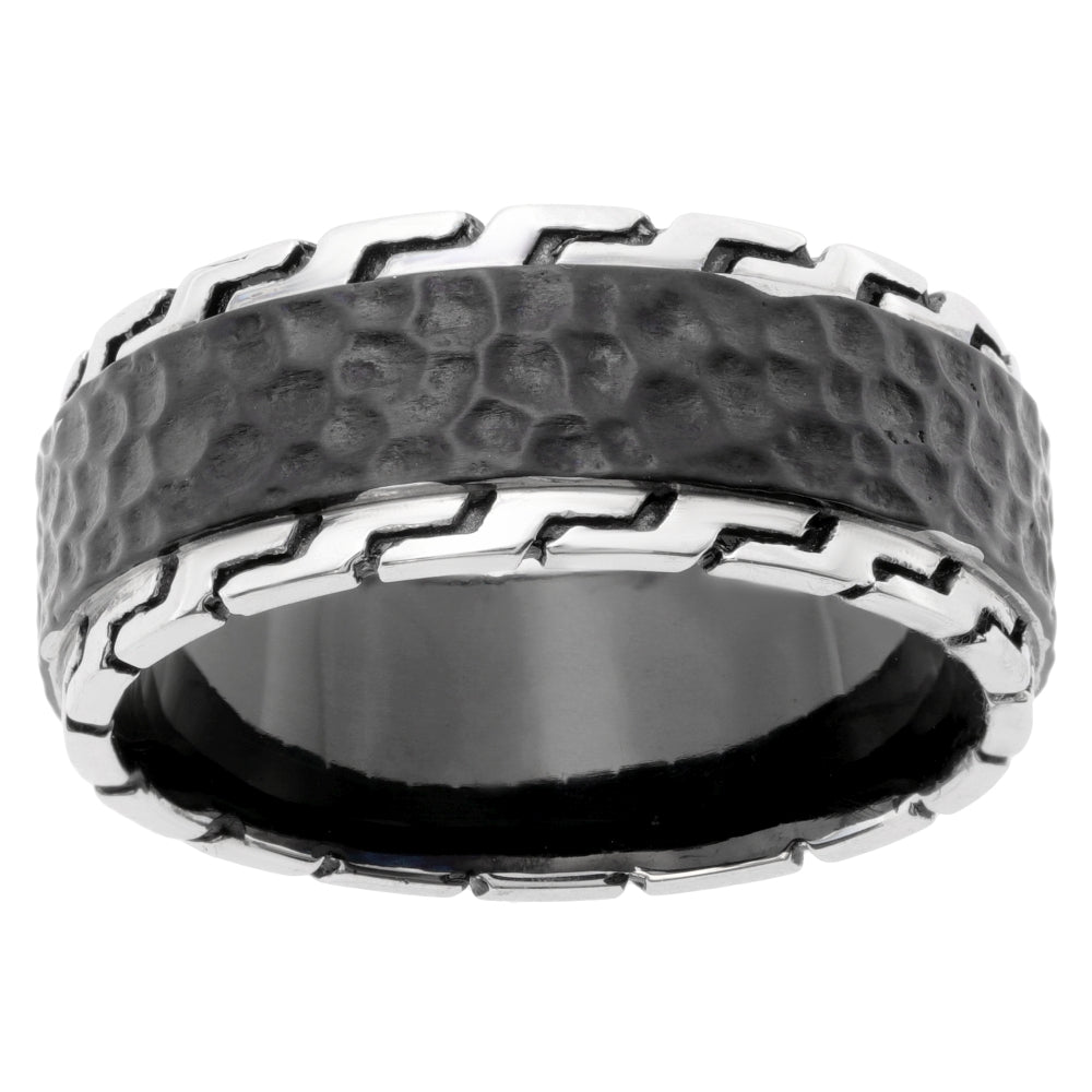 Stainless Steel Hammered Ring with Black Ion Plating