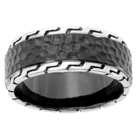 Image of Stainless Steel Hammered Ring with Black Ion Plating